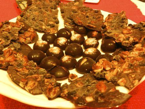 Barras y bombones de chocolate