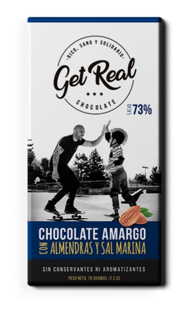 Chocolate amargo 73% almendras y sal marina