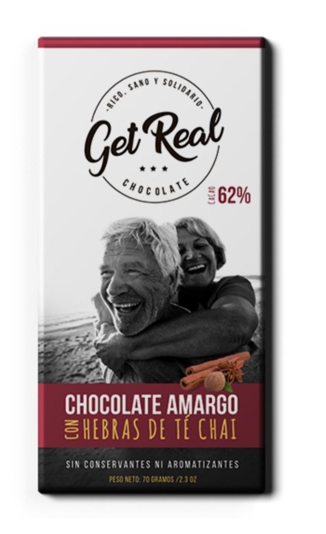 Chocolate amargo 62% cacao con té chai
