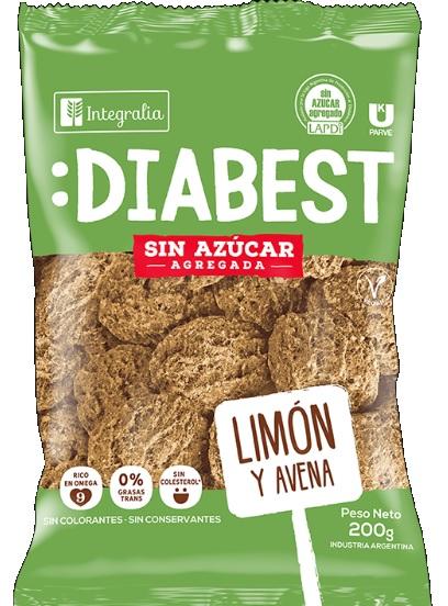 Galletitas Diabest Limon y Avena